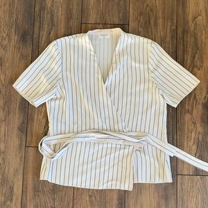 Babaton Cream striped white wrap shirt